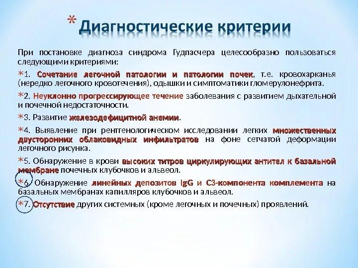 Диагностические признаки синдрома Гудпасчера