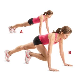 Для проработки мышцы живота - упражнение альпинист