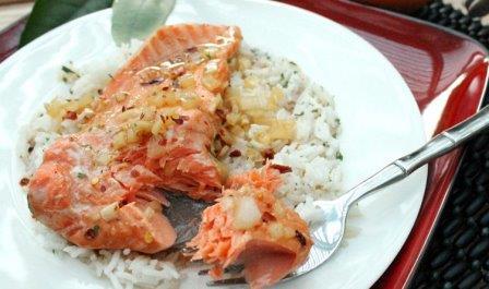 лосось с рисом Блюда за 15 минут