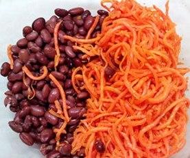 Фасоль и корейская морковь